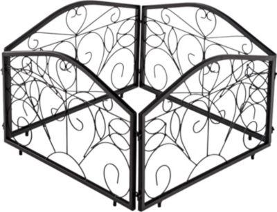 CLP 4er Set Beetzaun COLLIN aus massivem Eisen, Höhe 35 cm, endlos erweiterbar, 4x Rankzaun mit wunderschönen Verzierungen