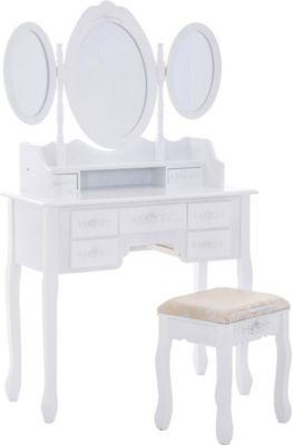XXL Schminktisch MAGNOLIA, Frisiertisch mit 3 Spiegeln und gepolstertem Hocker, im Landhausstil