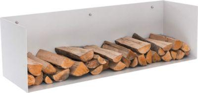 Kaminholz Wand-Halter MENDEL, Metall weiß matt, Kaminholz-Regal zur Wandmontage, max. Belastbarkeit: 70 kg