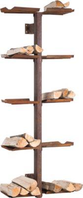 CLP Exklusiver Metall-Kaminholzständer MADERA V2 für die Wand, bis zu 2 Größen und 2 Farben wählbar   Wohnzimmer > Kamine & Öfen > Kaminholzkörbe   CLP