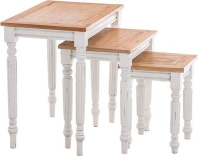 3er Satztisch Set TABEA aus Mahagoni-Holz, 3 x Beistelltisch im Landhaus-Stil, wunderschöne Verzierungen