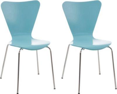 CLP 2x Konferenzstuhl CALISTO mit Holzsitz und stabilem Metallgestell I 2x platzsparender Stuhl mit einer Sitzhöhe von: 45 cm | Büro > Bürostühle und Sessel  > Konferenzstühle | CLP