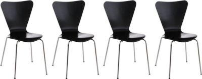 CLP 4x Konferenzstuhl CALISTO mit Holzsitz und stabilem Metallgestell I 4x platzsparender Stuhl mit einer Sitzhöhe von 45 cm | Büro > Bürostühle und Sessel  > Konferenzstühle | CLP
