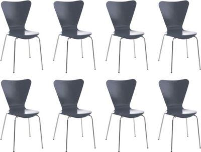 CLP 8x Konferenzstuhl CALISTO mit Holzsitz und stabilem Metallgestell I 8x platzsparender Stuhl mit einer Sitzhöhe von: 45 cm | Büro > Bürostühle und Sessel  > Konferenzstühle | CLP