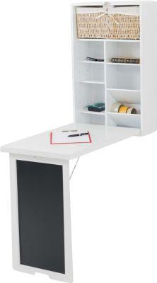 Wand-Klapptisch mit Tafel MARLA, für die Küche, Holz Schreibtisch, B-Ware, Platzwunder für kleine Räume