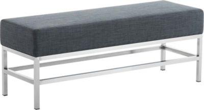 CLP 3-er Edelstahl Sitzbank TULIP, Stoff-Bezug, 4 Beine, Breite ca. 120 cm, Sitzhöhe ca. 45 cm, gepolstert