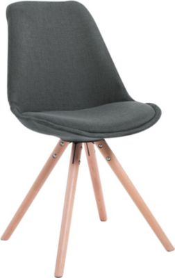 CLP Design Retro-Stuhl TOULOUSE RUND mit Stoffbezug und hochwertigem Sitzpolster Lehnstuhl mit Holzgestell In verschiede