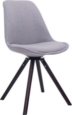 CLP Retrostuhl TROYES RUND mit Stoffbezug und hochwertiger Polsterung I Drehbarer Stuhl mit Schalensitz und massiven Hol