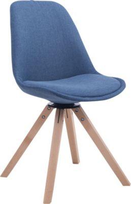 CLP Retrostuhl TROYES mit Stoffbezug und hochwertiger Sitzfäche I Stuhl mit drehbarem Schalensitz und massiven Holzbeine