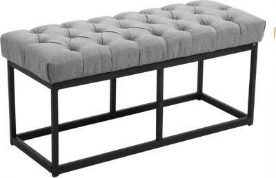 Sitzbank AMUN mit Stoff-Bezug, in den Breiten 100, 120, 150 x 40 cm, Sitzhöhe ca. 45 cm, gepolstert und gesteppt