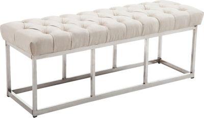 Design Edelstahl Sitzbank AMUN mit Stoff-Bezug, in den Breiten 100, 120, 150 x 40 cm, Sitzhöhe ca. 45 cm, gepolstert und gesteppt