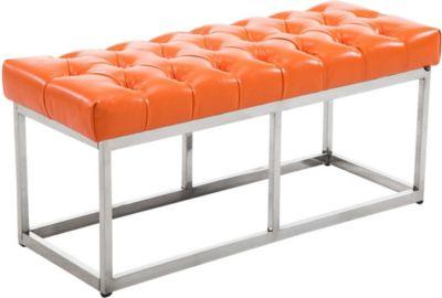 Design Edelstahl Sitzbank AMUN mit Kunstleder-Bezug, in den Breiten 100, 120, 150 x 40 cm, Sitzhöhe ca. 45 cm, gepolstert und gesteppt