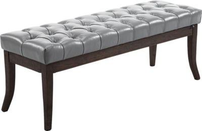 Sitzbank RAMSES mit Kunstleder-Bezug, 4 Holz-Beine antik-dunkel, in den Breiten 100, 120, 150 x 40 cm, Sitzhöhe ca. 45 cm, gepolstert und gesteppt