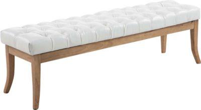 Sitzbank RAMSES mit Kunstleder-Bezug, 4 Holz-Beine antik-hell, in den Breiten 100, 120, 150 x 40 cm, Sitzhöhe ca. 45 cm, gepolstert und gesteppt