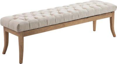 Sitzbank RAMSES mit Stoff-Bezug, 4 Holz-Beine antik-hell, in den Breiten 100, 120, 150 x 40 cm, Sitzhöhe ca. 45 cm, gepolstert und gesteppt