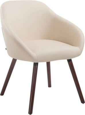 CLP Besucher-Stuhl HAMBURG mit Armlehne, max. Belastbarkeit 150 kg, Holz-Gestell, Kunstleder-Bezug, Sitzfläche gepolster