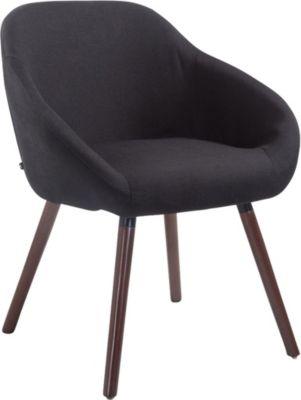 CLP Besucher-Stuhl HAMBURG mit Armlehne, max. Belastbarkeit 150 kg, Holz-Gestell, Stoff-Bezug, Sitzfläche gepolstert, mi