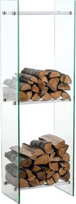 CLP Kaminholzregal / Kaminholzständer DACIO aus Klarglas I stabile Konstruktion I Holzlager I modernes Glasregal mit Bodenschonern   Wohnzimmer > Kamine & Öfen > Kaminholzkörbe   Holz   CLP
