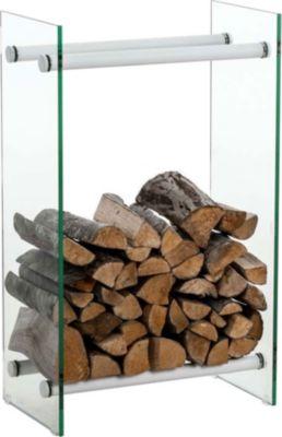 CLP Kaminholzregal / Kaminholzständer DACIO aus Klarglas I stabile Konstruktion I Holzlager I modernes Glasregal mit Bodenschonern | Wohnzimmer > Kamine & Öfen | Holz | CLP