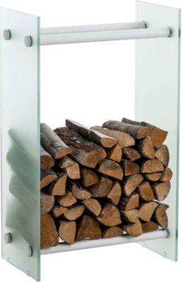 CLP Kaminholzregal / Kaminholzständer DACIO aus Milchglas I stabile Konstruktion I Holzlager I modernes Glasregal mit Bodenschonern | Wohnzimmer > Kamine & Öfen | CLP