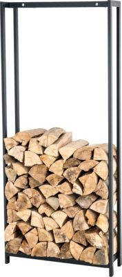 CLP Kaminholzregal / Kaminholzständer FOREST, rostbeständige, stabile Konstruktion, Edelstahl, Holzlager, modernes Holzregal mit Bodenschonern, | Wohnzimmer > Kamine & Öfen > Kaminholzkörbe | Edelstahl | CLP