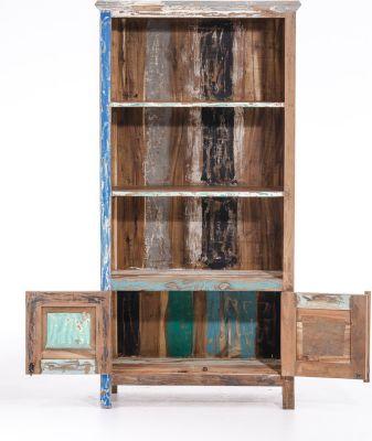 Bücherschrank NOAH aus massivem recyceltem Teakholz 180 x 86 cm, Tiefe 42 cm