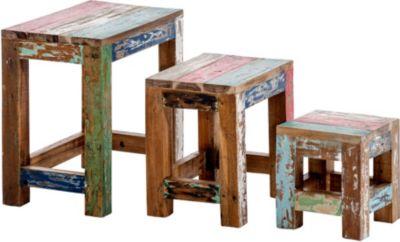 3er Satztisch Set ERIK aus massivem recyceltem Teakholz