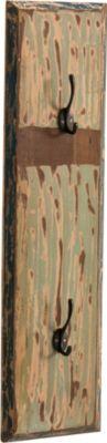 Wand-Garderobe INGA aus massivem recyceltem Teak-Holz, 2 Haken, 80x20 cm (HxB)