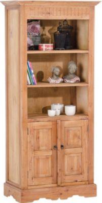 Bücherschrank JAMES, Landhausstil, Mahagoniholz, Höhe: 184 cm, Breite 83 cm, Tiefe 42 cm, bis zu 8 FARBEN
