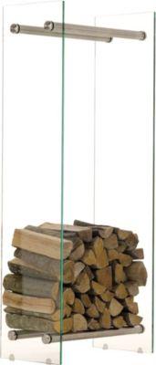 Edelstahl Kaminholz-Ständer DACIO, klarglas, 12 mm Sicherheitsglas, bis zu 13 Größen wählbar   Wohnzimmer > Kamine & Öfen > Kaminholzkörbe   Holz   CLP
