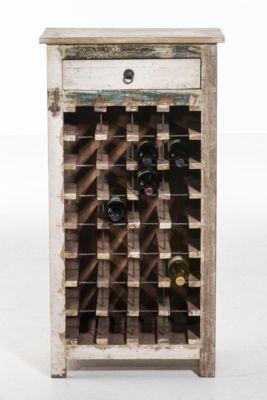 Teakholz-Weinregal RANGAN, 1 Schublade, Platz für 32 Weinflaschen