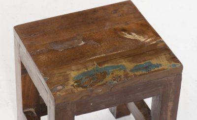 3er Satztisch Set AKASHA aus massivem recyceltem Teakholz, mehrfarbig in used Vintage-Look