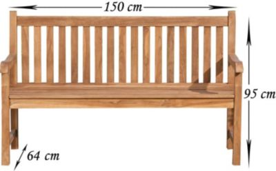 Teak-Gartenbank CALYPSO V2 , wetterfest, Teakholz massiv, bis zu 5 Größen wählbar