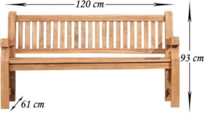 wetterfeste Teak-Gartenbank JACKSON V2 aus massivem Teakholz (aus bis zu 5 Größen wählen)
