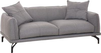 3er Sofa LUCIEN mit Dekokissen, Stoffbezug, ca. 195 x 90 cm, dicke Polsterung, breite Sitzfläche