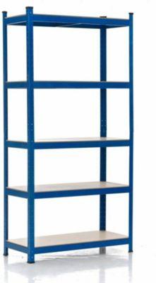 Schwerlastregal, Metall, verzinkt, Tragkraft 875 kg, 5 Böden, Lagerregal Farbe + Höhe wählbar