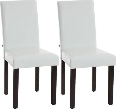 Plus 2x edler Esszimmerstuhl INA mit dunkelbraunem Holzgestell, Bezug aus Kunstleder, Sitzhöhe 47 cm - FARBWAHL