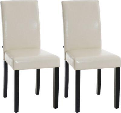 2x edler Esszimmerstuhl INA mit schwarzem Holzgestell, Bezug aus Kunstleder, Sitzhöhe 47 cm - FARBWAHL 1650647000