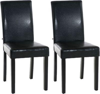 2x edler Esszimmerstuhl INA mit schwarzem Holzgestell, Bezug aus Kunstleder, Sitzhöhe 47 cm - FARBWAHL 1650647001