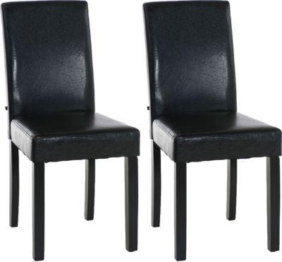 2x edler Esszimmerstuhl INA mit schwarzem Holzgestell, Bezug aus Kunstleder, Sitzhöhe 47 cm - FARBWAHL 1650647002