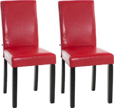 2x edler Esszimmerstuhl INA mit schwarzem Holzgestell, Bezug aus Kunstleder, Sitzhöhe 47 cm - FARBWAHL 1650647003