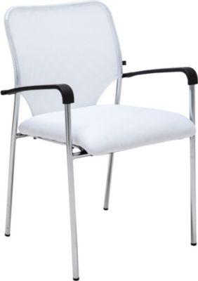 Stuhl CUBA mit Armlehne, Stapelstuhl / Besucherstuhl mit gut gepolsterter Sitzfläche