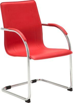 Freischwinger-Stuhl mit Armlehne MELINA, Konferenzstuhl / Besucherstuhl mit gepolsterter Sitzfläche