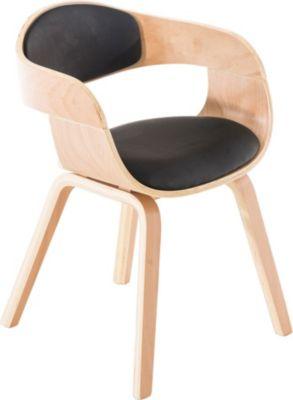 moderner Besucher-Stuhl KINGSTON mit Armlehne, gut gepolsterte Sitzfläche, Holzgestell, FARBWAHL
