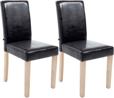 Plus 2x edler Esszimmerstuhl INA mit Holzgestell natura, Bezug aus Kunstleder, Sitzhöhe 47 cm - FARBWAHL