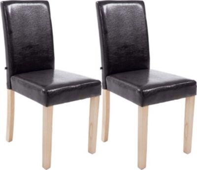 2x edler Esszimmerstuhl INA mit Holzgestell natura, Bezug aus Kunstleder, Sitzhöhe 47 cm - FARBWAHL 1713734001