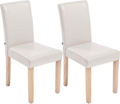 2x edler Esszimmerstuhl INA mit Holzgestell natura, Bezug aus Kunstleder, Sitzhöhe 47 cm - FARBWAHL 1713734002