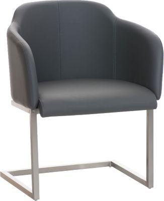 Edelstahl Freischwinger-Stuhl MAGNUS mit Armlehne, gut gepolsterter Sitzfläche, Kunstlederbezug