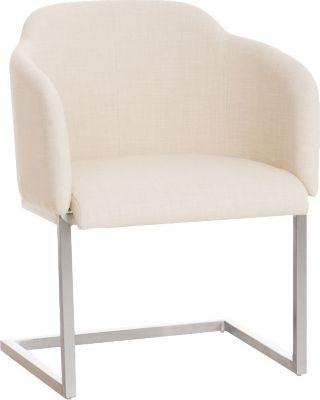 Edelstahl Freischwinger-Stuhl MAGNUS mit Armlehne, Stoffbezug, gut gepolsterter Sitzfläche