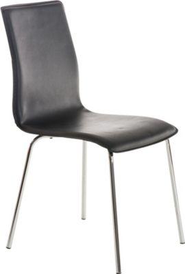 Küchen-Stuhl / Besucherstuhl NICKI, pflegeleichter Kunstlederbezug, 4-Fuß-Metallgestell in Chromoptik, FARBWAHL